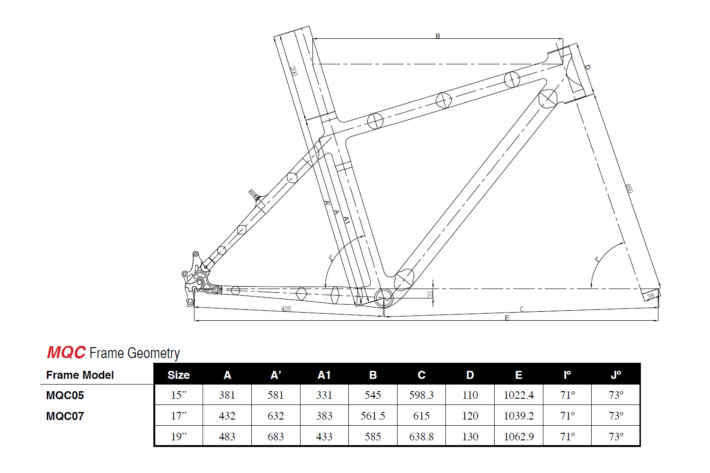 "... MTB Hardtail carbon frame 26"" TRIGON TM335 (MQC05, MQC805)"